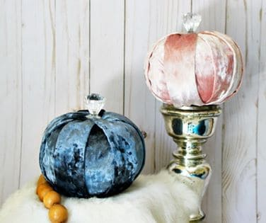 velvet pumpkins for autumn for a dollar store