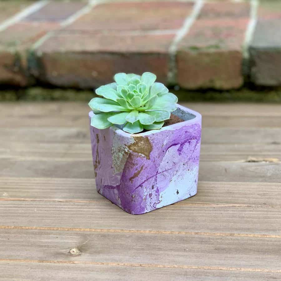 finished DIY hydro dipped planter with light purple and gold marbling