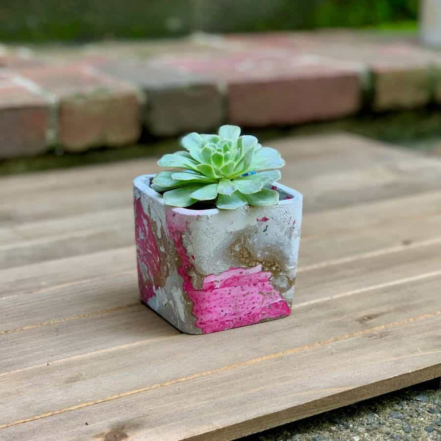 finished DIY hydro dipped planter with gold and magenta marbling