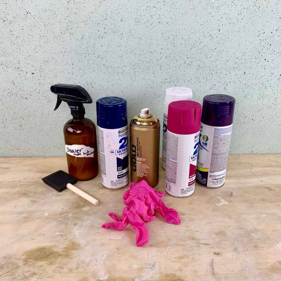 materials for hydro dipping- paints, gloves, brush