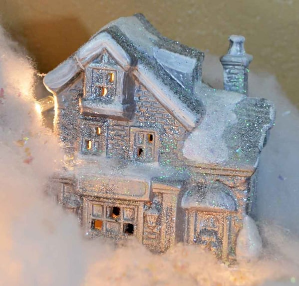 painted and glittered christmas village house