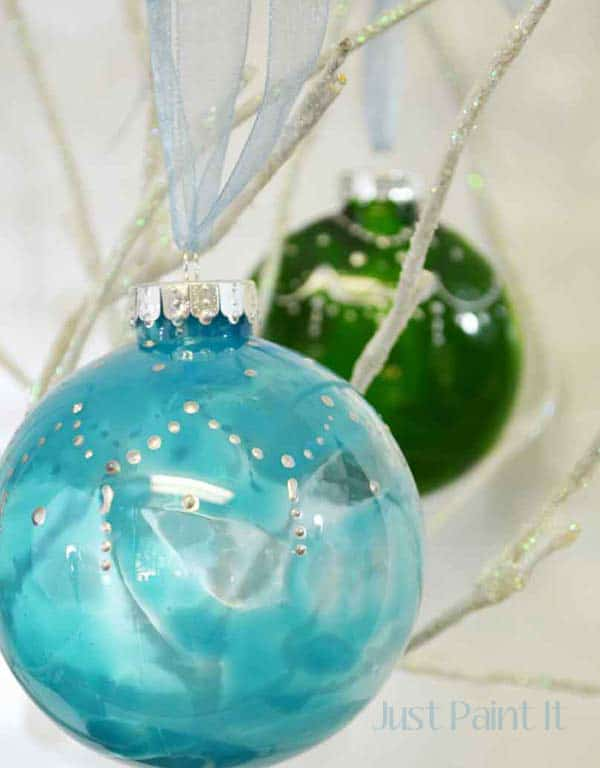 clear DIY christmas ornaments painted
