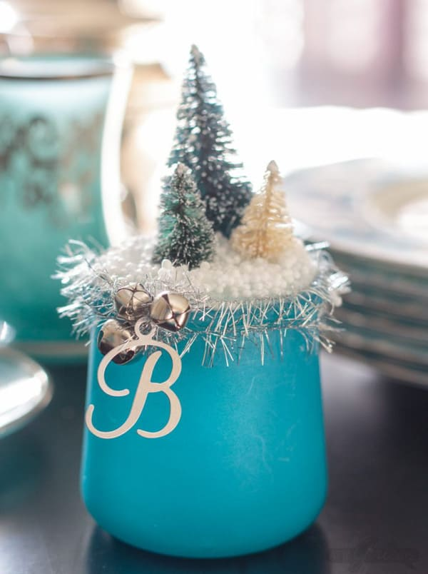 votives decorate with tiny christmas trees and snow on top
