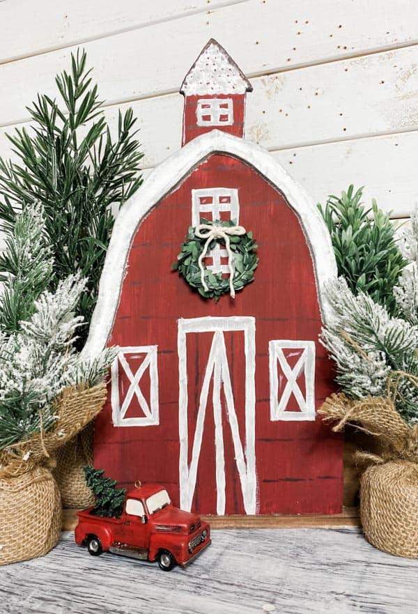 red barn with great made from a foam board