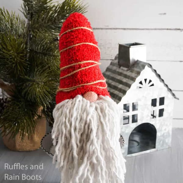 gnome crafts made with dollar tree mop for beard