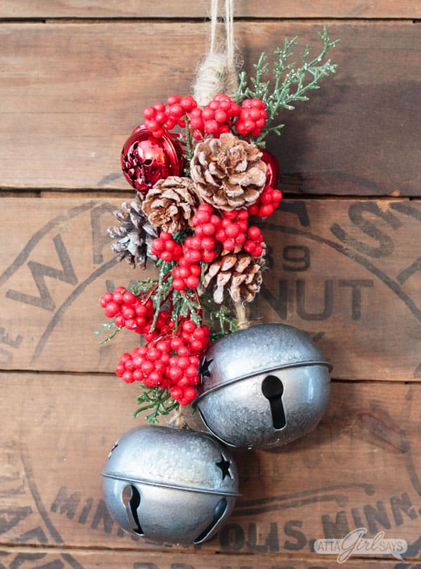 Giant dollar tree diy jingle bells decorated with christmas naturals