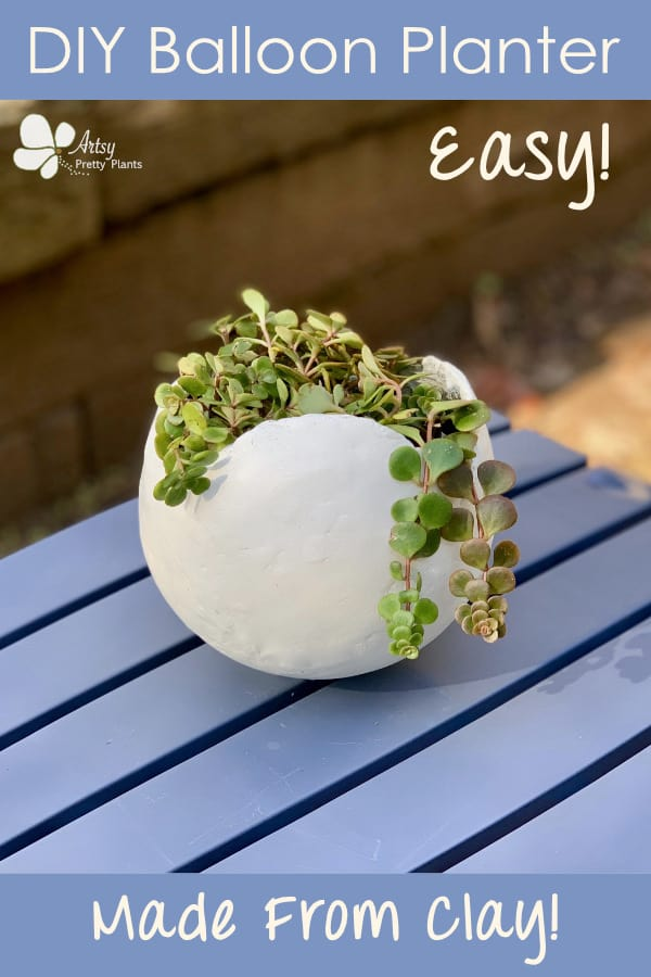 planter made from balloon mold, using clay