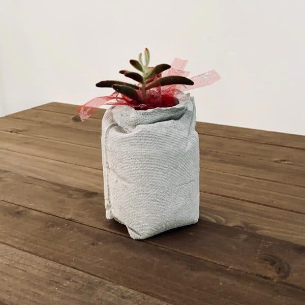 planter that looks like a burlap bag on wood planks
