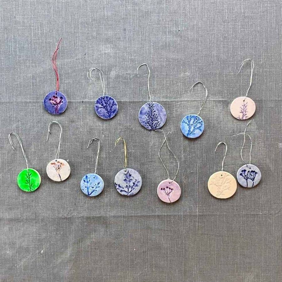 multi colors of clay ornaments with wire hooks