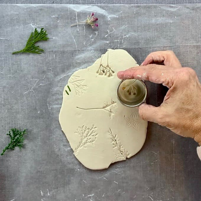 cutting hole in air dry clay