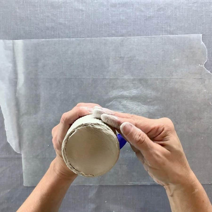 pressing on ribbed air dry clay
