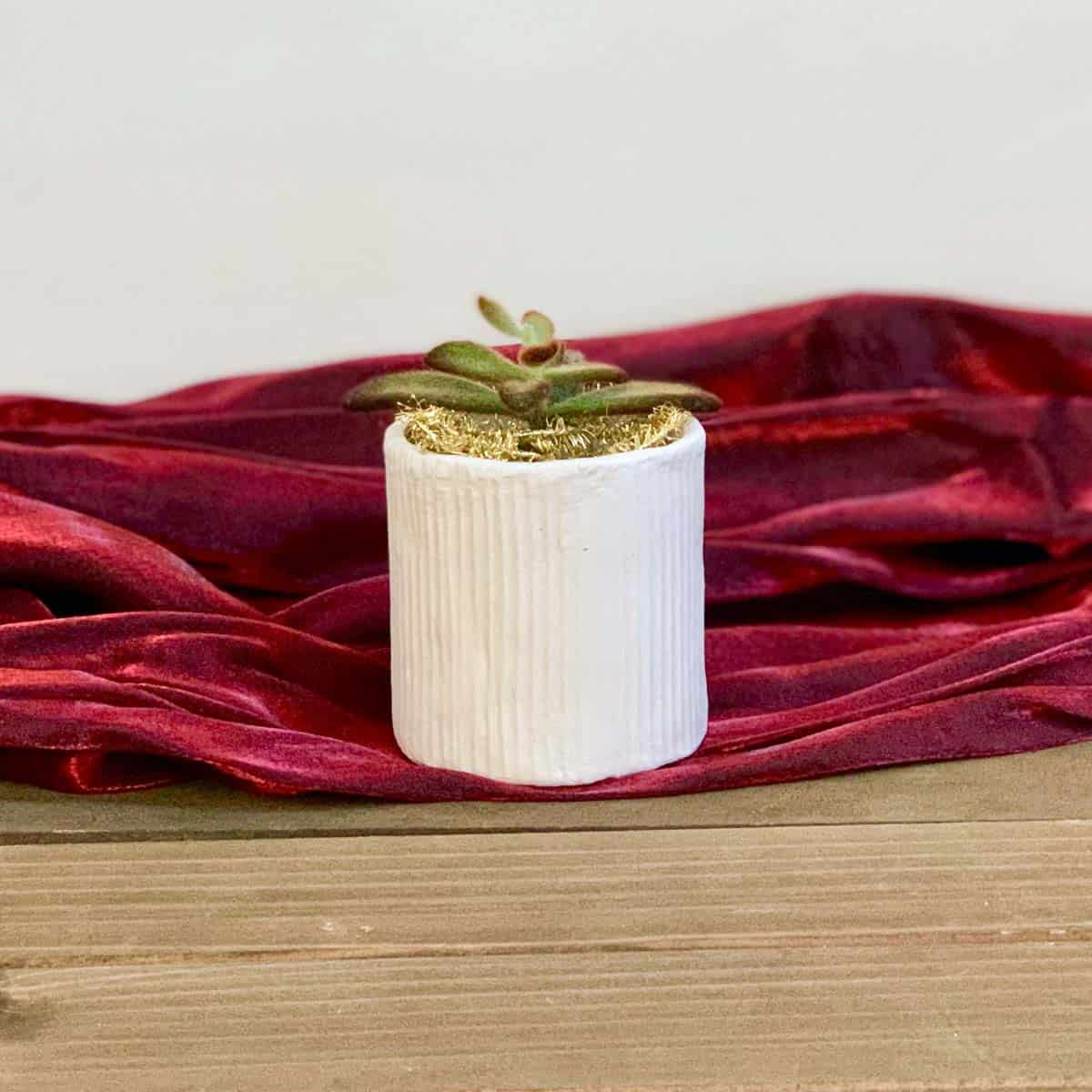 Air dry clay planter on red material
