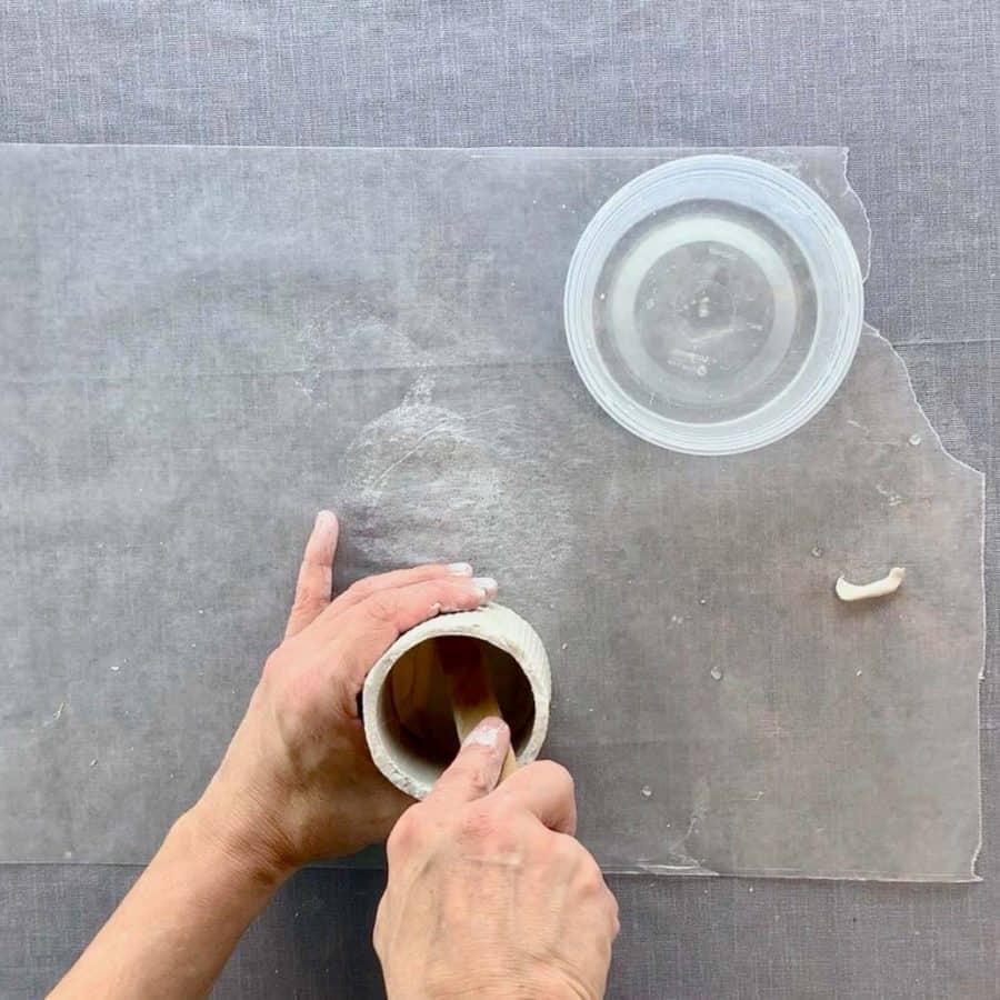 pressing slip into bottom edges