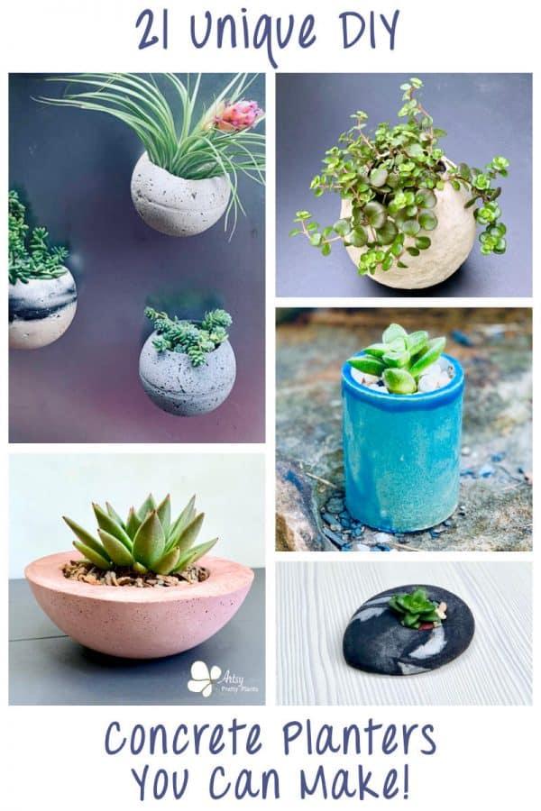 21 Unique DIY Concrete Planters To Make