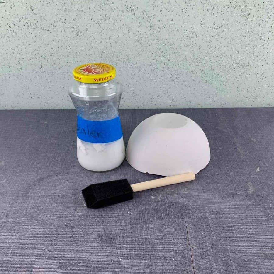 sealant for concrete, a planter and a brush on a table