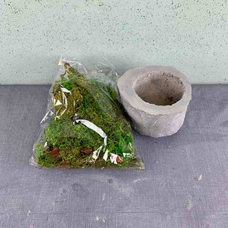 sphagnum moss and much in a bag next to an empty planter