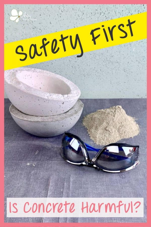 safety glasses, cement mix and concrete crafts