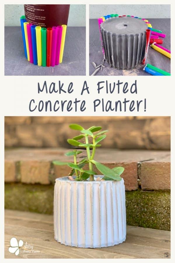 DIY Fluted Concrete Pot