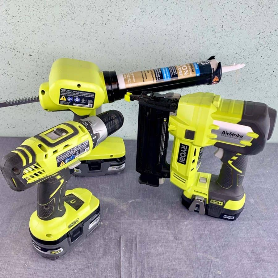power tools needed for making concrete items- caulk gun, brad nailer, power drill