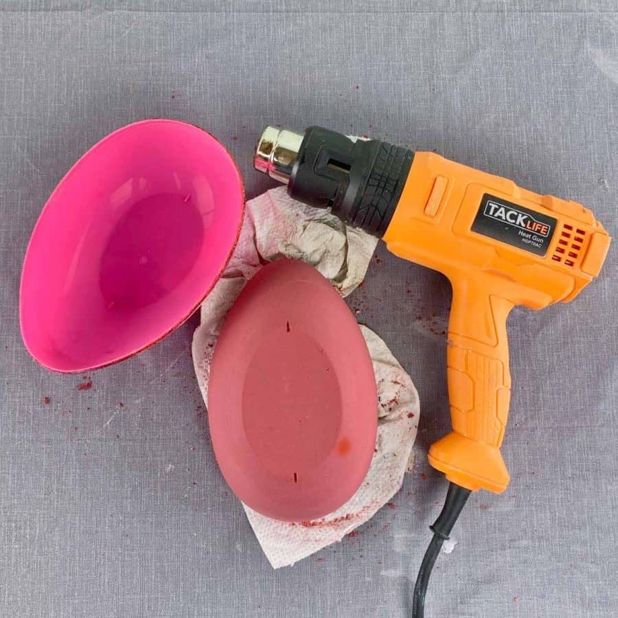 heat gun next to upside down cement bowl with plastic bottom removed
