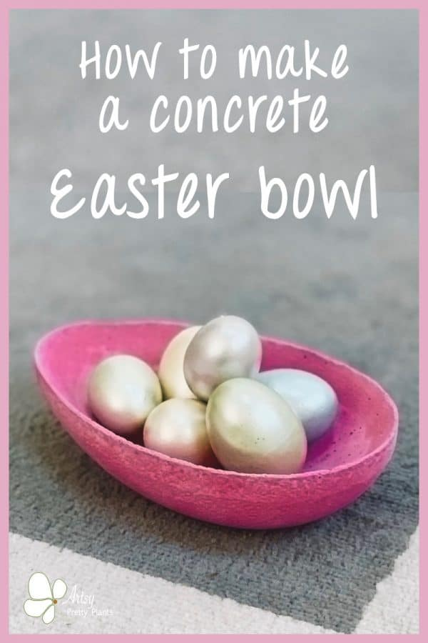 dark pink cement bowl with eggs inside