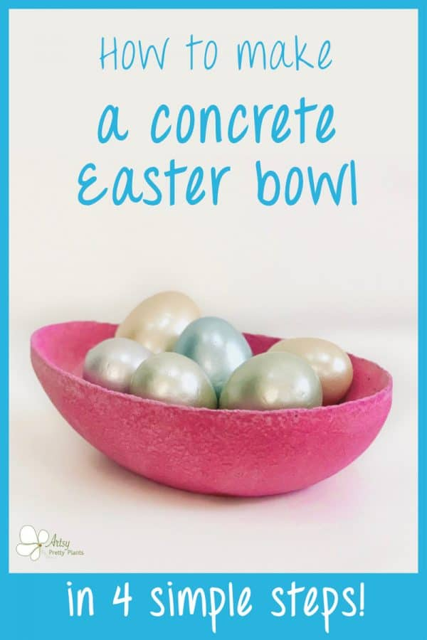 easter egg shaped cement bowl with paste eggs inside