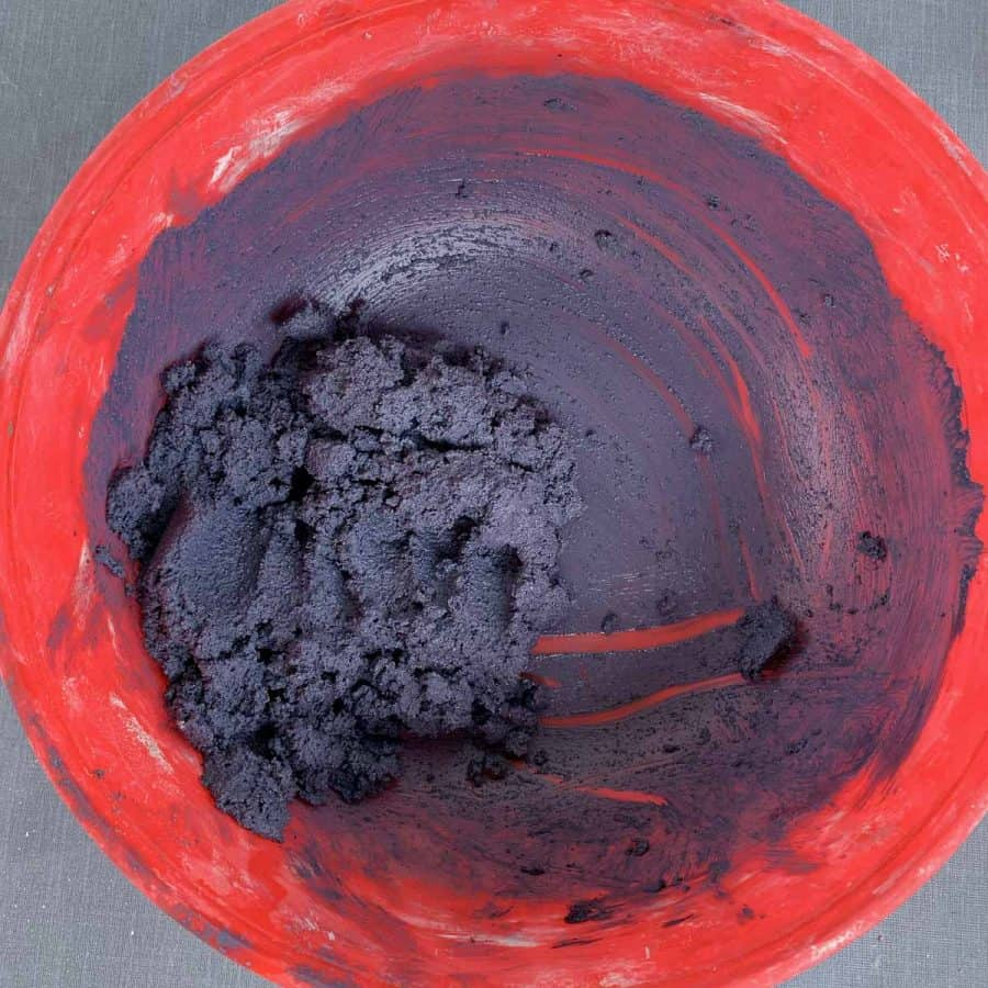 purple dyed cement mix