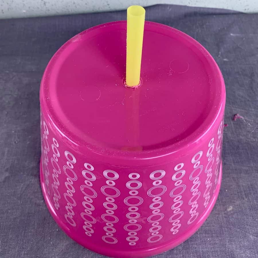 straw sticking out from bottom of bowl