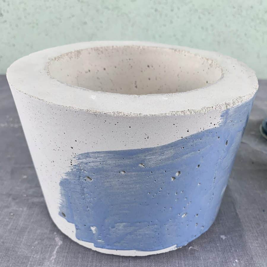 stain along side of diy concrete planter