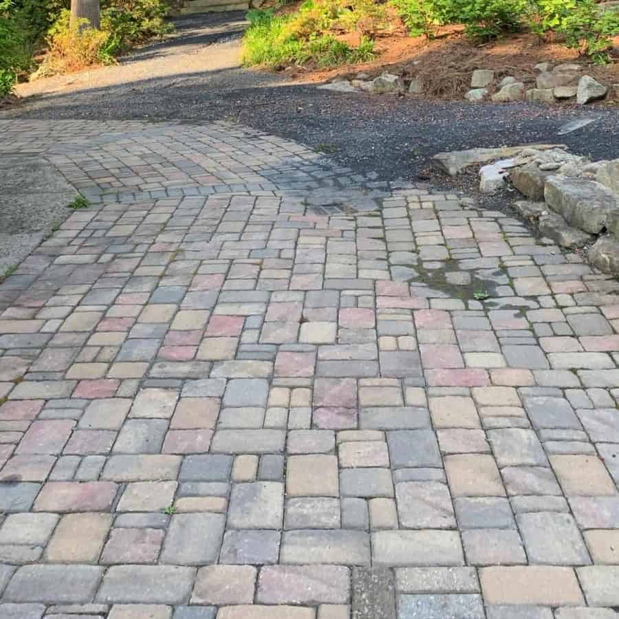 stepping stone pathway pavers in square and rectangular shapes