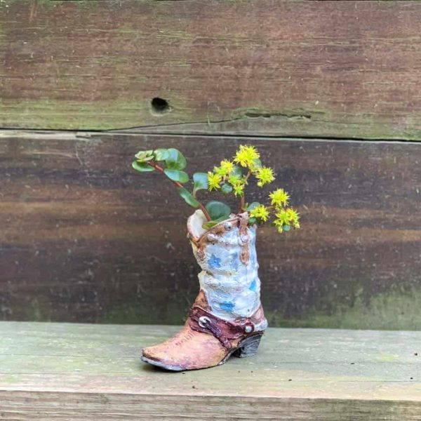 Mini Cowboy Boot Planter From A DIY Latex Concrete Mold