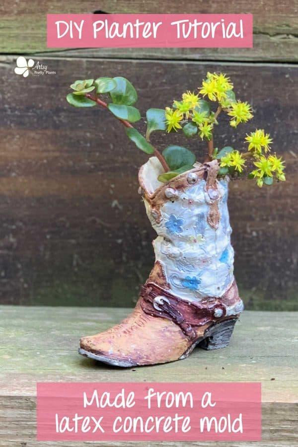 Concrete Cowboy Boot Planter Painted With Plants Inside