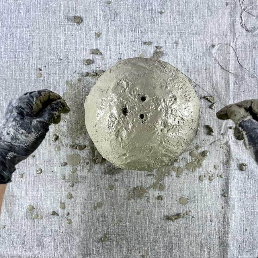 cord wrapping cement to show texture