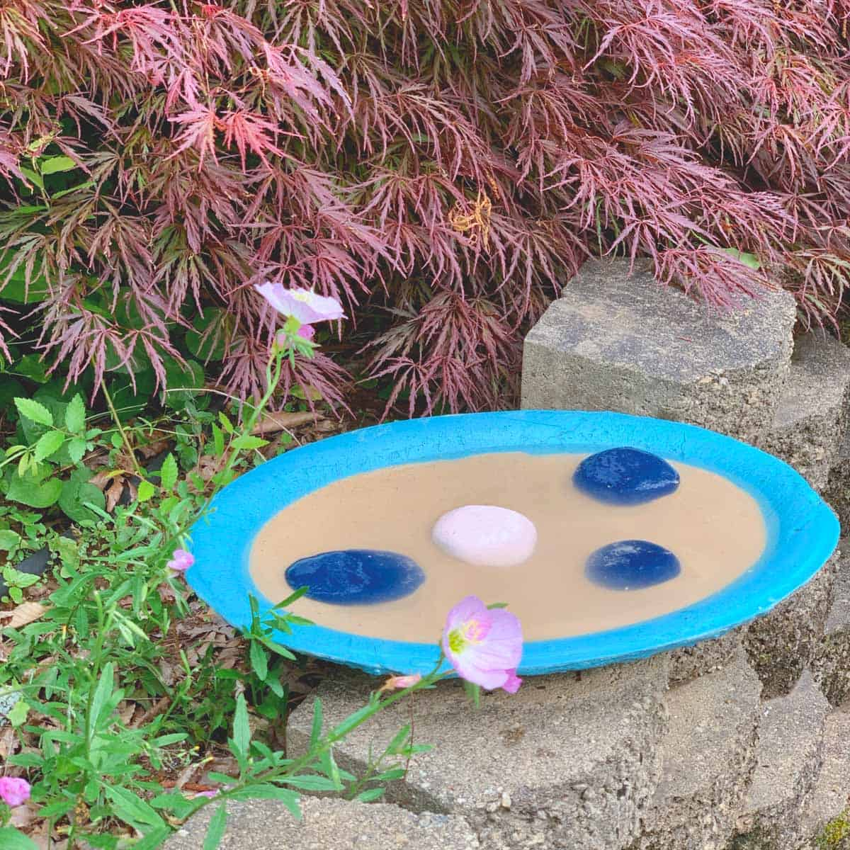 shallow concrete tray with sand, water and rocks. Painted a teal color. Sitting in a garden.