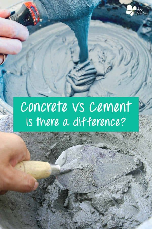 cement vs concrete- top of photo shows wet cement mix being whipped, bottom shows mix being mixed with masonry spatula