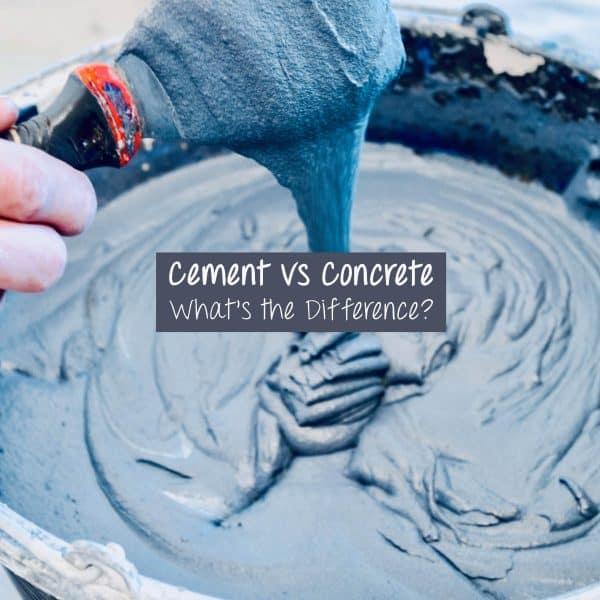 Cement vs Concrete- cement on spatula, dripping into bowl