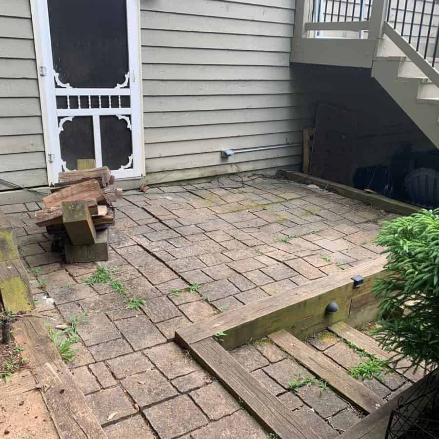 concrete paver patio with tilted pavers
