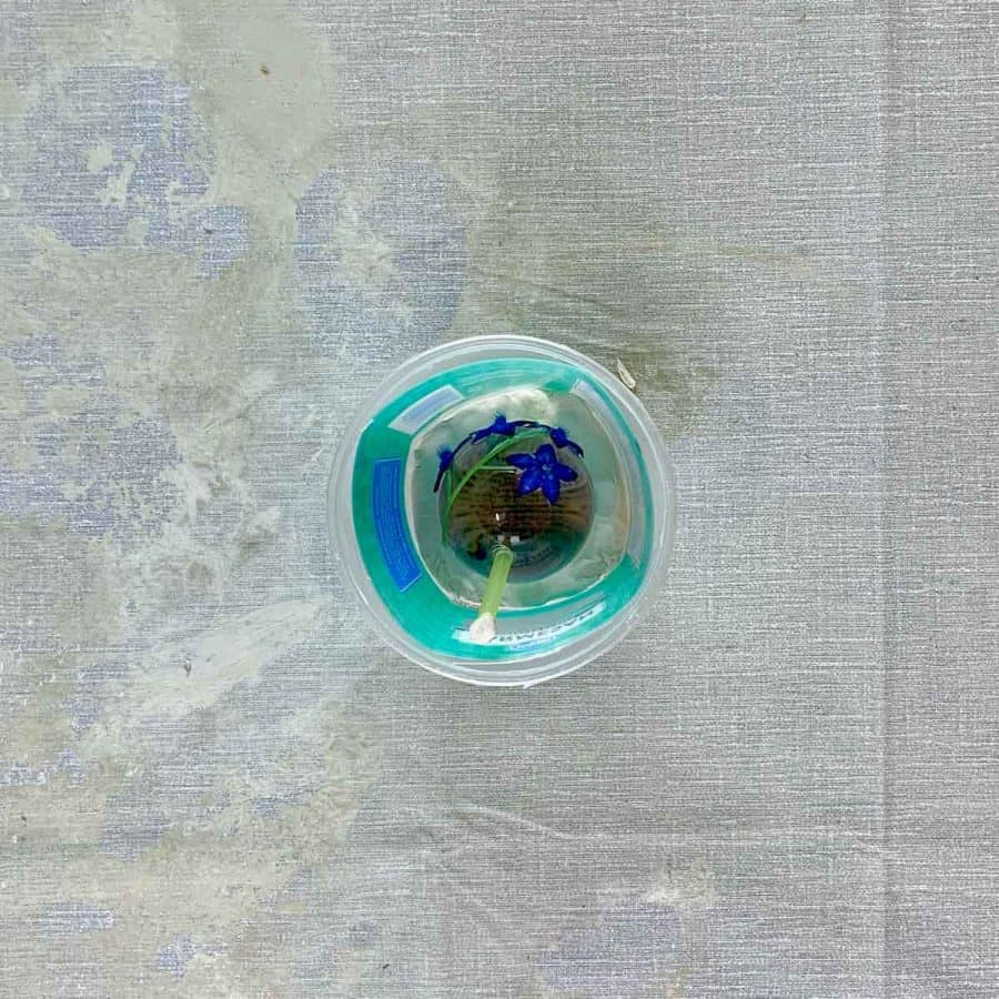 Silicone Sphere Mold- sphere inside container with straw glued to it