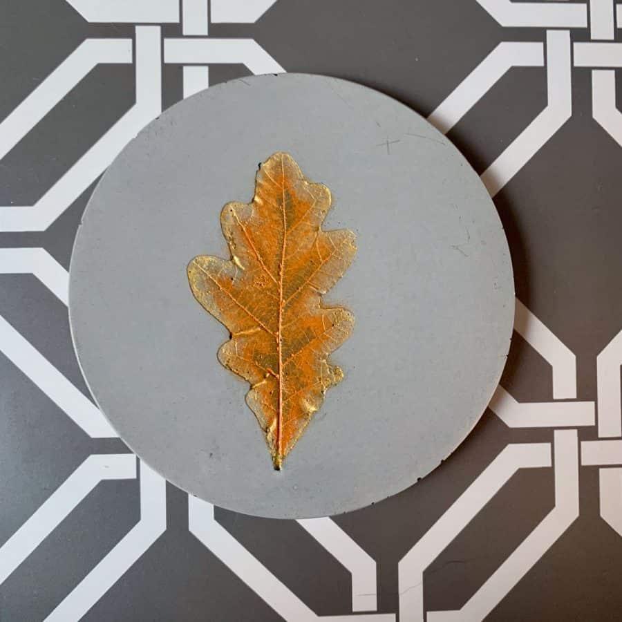 Concrete Coasters-coaster with orange painted leaf