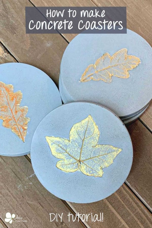 Concrete Coasters- 3 DIY coasters with various leaf imprints, painted iridescent gold and orange.