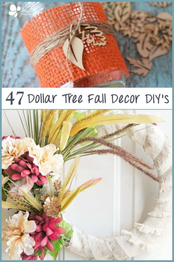 Dollar Tree Fall Decor- 3 photos in collage of white wreath, and mason jar with burlap