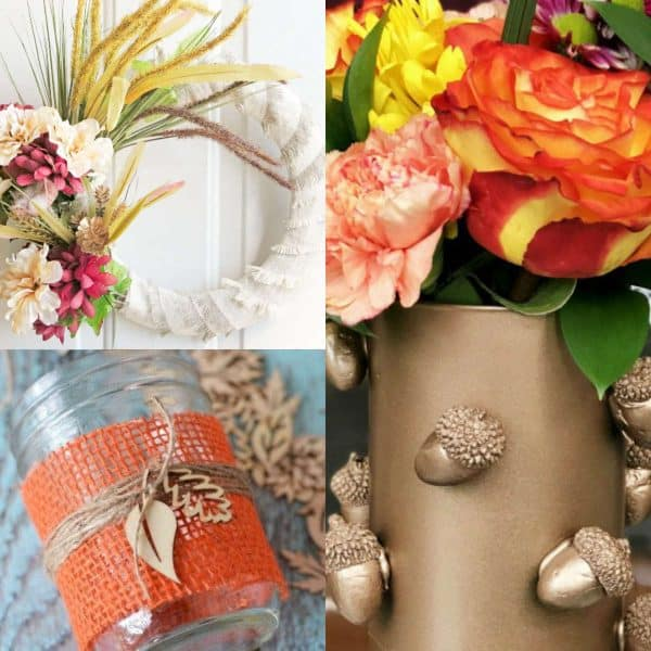 Dollar Tree Fall Decor- 3 photos in collage of white wreath, gold vase and mason jar with burlap