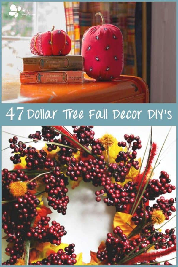 Dollar Tree Fall Decor- 3 photos in collage of red berry wreath, and mason bandana pumpkins