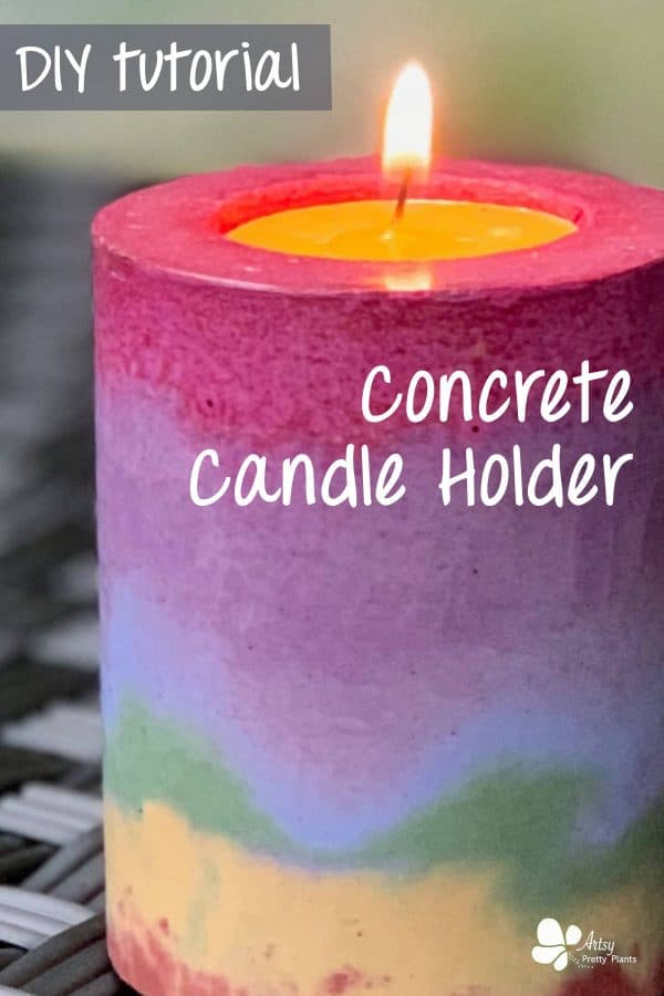How to make a DIY concrete candle holder in a rainbow of colors. Use concrete pigments to make this cheerful piece of home decor.