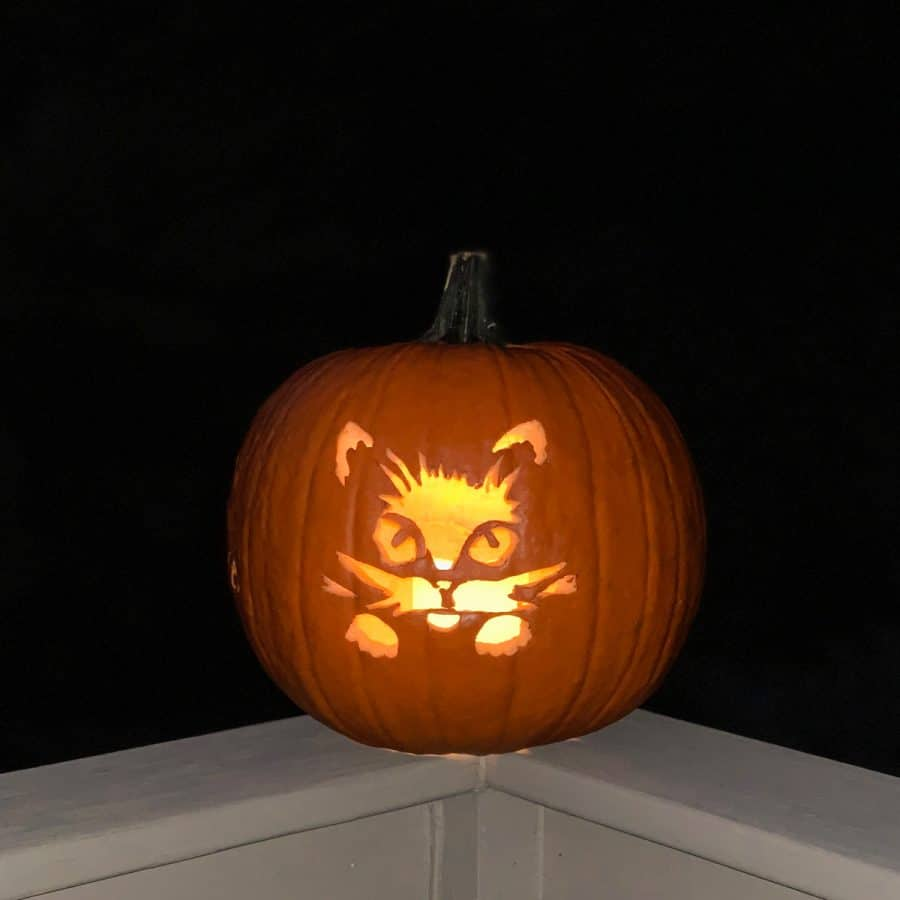 carved face of cat jack o lantern lit with candle on porch railing