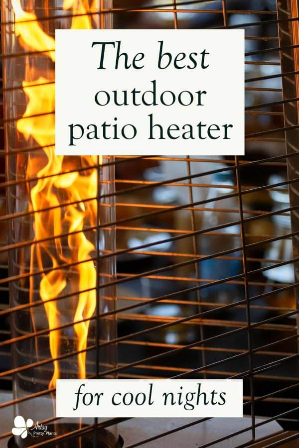 heater lit up flame on patio at night