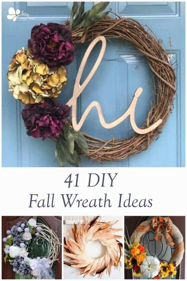 fall wreaths displayed on doors