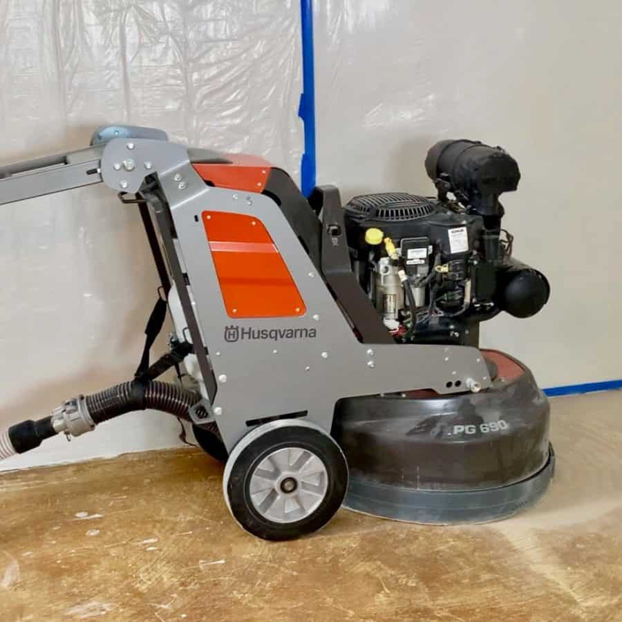 giant grinding machine on uneven concrete floor
